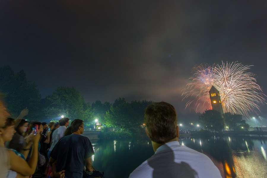 Thousands of people gathered in Riverfront Park to view the firework display, which was said to be the largest show to be put on at Riverfront Park yet. - MATT WEIGAND
