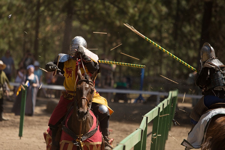 Tieg Thornton (Sir Jude Llewellyn), left, and Carson Hentges (Sir Digby Simkins) joust during Knightly Games on Horseback and Joust. - YOUNG KWAK