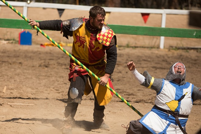 Tieg Thornton (Sir Jude Llewellyn), left, strikes Dan Compogno (Sir John Callsforth) with a lance. - YOUNG KWAK