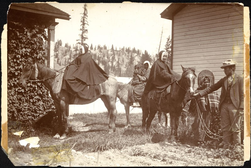 Two Sisters of Providence set out on one of their begging tours to the Silver Valley mining district in North Idaho. Alms collected from miners helped fund Sacred Heart in its early years. - PROVIDENCE ARCHIVES/SEATTLE, WA