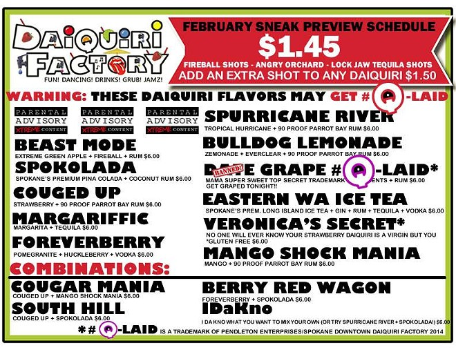 New drink menu posted today by the Spokane Downtown Daiquiri Factory.