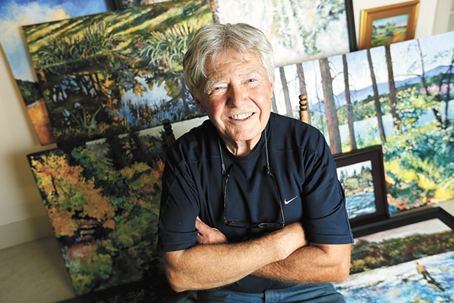Artist L.R. Montgomery and his paintings of the Spokane River. - YOUNG KWAK