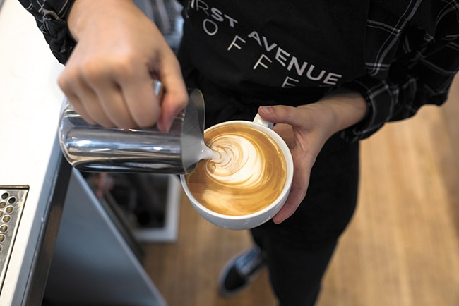 """Roast House's First Avenue Coffee gets """"green"""" recognition. - HECTOR AIZON PHOTO"""