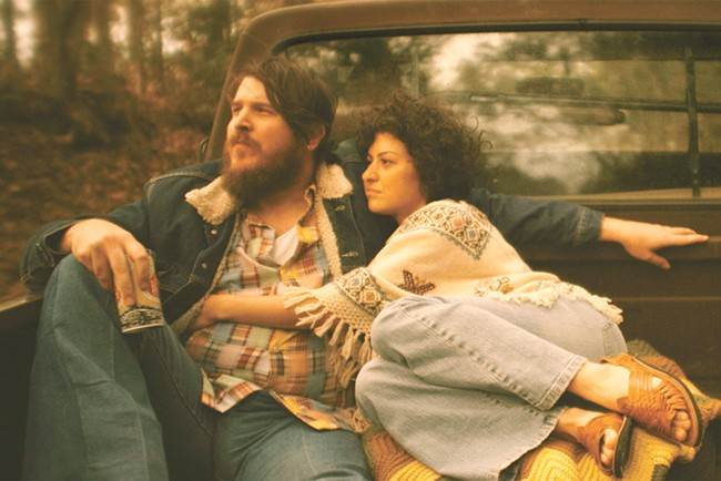 Ben Dickey as Blaze Foley (left) and Alia Shawkat as his wife Sybil Rosen.