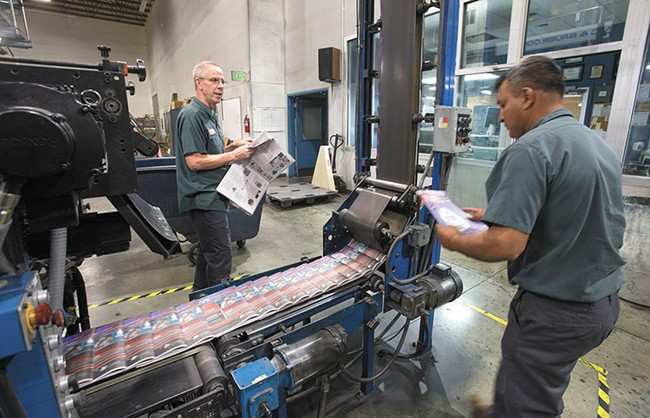The Inlander is printed by Wenatchee World-owned presses and is trucked to Spokane on Wednesday mornings.