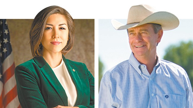 Paulette Jordan (left) and Brad Little.
