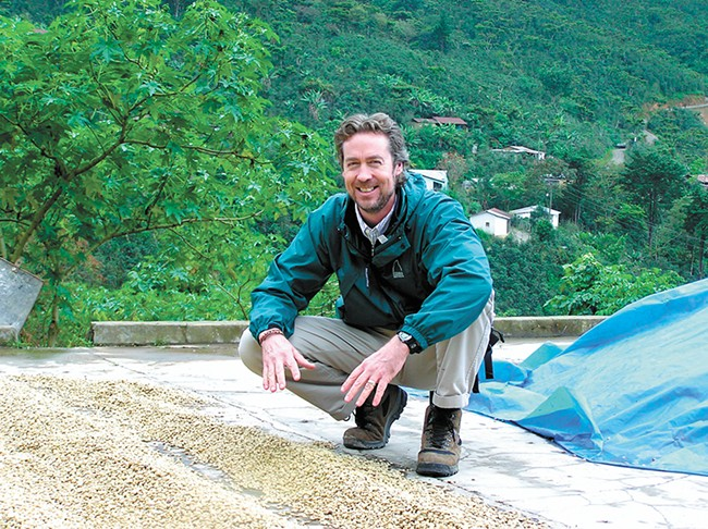 Owner Simon Thompson frequently visits the growers he buys beans from.