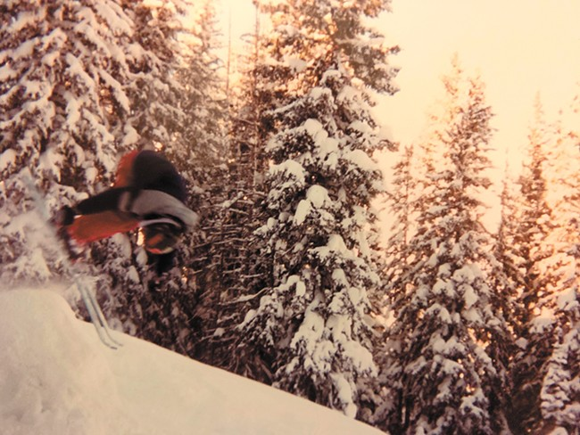 The author's first front flip on skis.