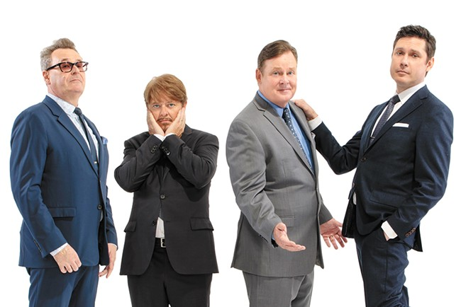 Improv masters (includling Greg Proops, far left), not the new cast of a Mad Men reboot.