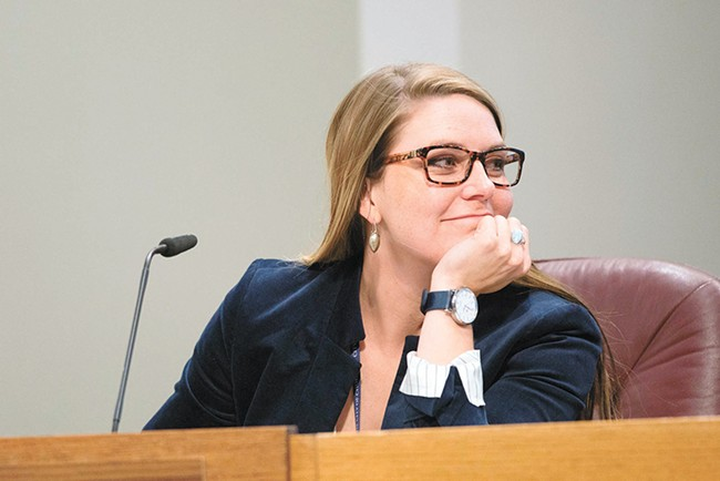 City Councilwoman Kate Burke believes the city should consider reassessing its all-ages helmet requirement. - DANIEL WALTERS PHOTO