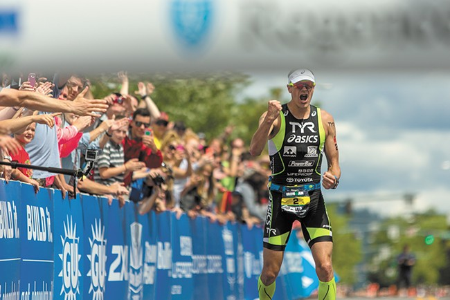 Andy Potts, winner of the 2014 Coeur d'Alene Ironman (8:25:44). - MATT WEIGAND
