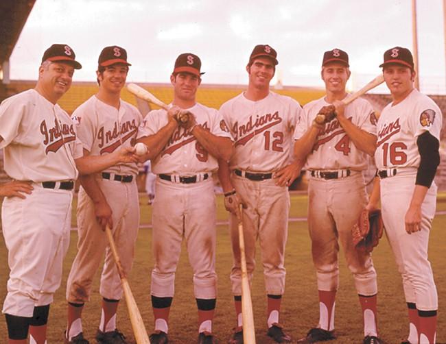 The Spokane Indians of the 1970s (from left): Manager Tommy Lasorda, Bobby Valentine, Steve Garvey, Bill Buckner, Tommy Hutton and Bob O'Brien.