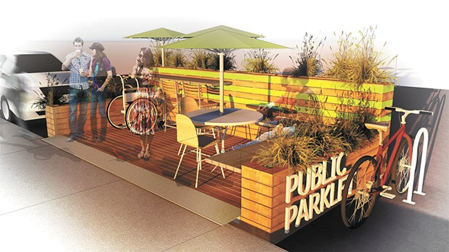"Mini parks, or ""parklets,"" are designed to be community gathering places. - JOSE BARAJAS RENDERING"