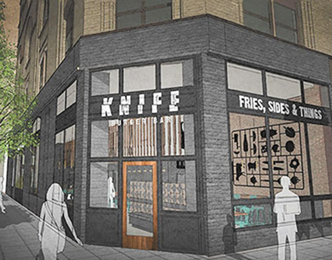 A rendering of what the future Knife Burger Bar might look like.