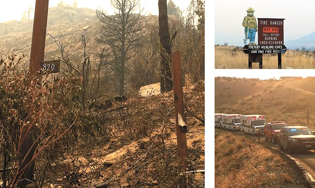 CLOCKWISE, from left: A burned house outside of Omak; a road sign between Chelan and Okanogan; a procession for the fallen firefighters. - SCOTT A. LEADINGHAM