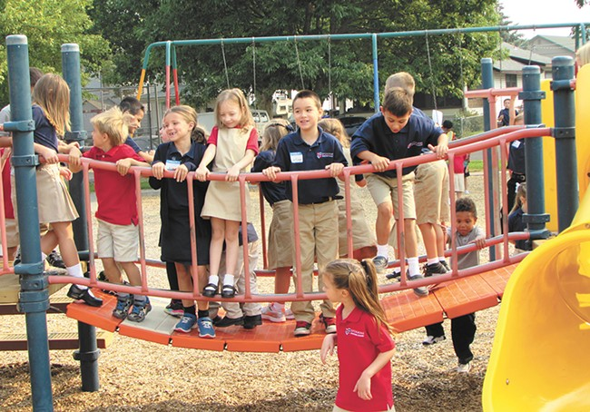 The scene at the first recess ever at the Spokane International Academy. - DANIEL WALTERS