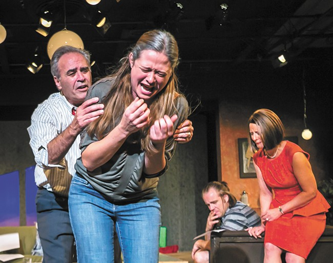 FROM LEFT: Wes Dietrick, Sarah Miller, Billy Hultquist and Diana Trotter in the Modern Theater's Other Desert Cities. - DAN BAUMER PHOTO