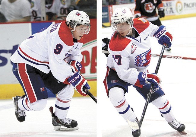 Keanu Yamamoto and his brother, Kailer (right), help anchor the Spokane Chiefs offensive attack. - GARTY PETERSON PHOTOS