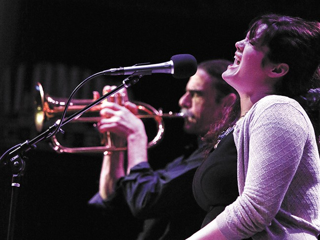 Flugelhorn player Michael Lenke (left) and vocalist/keyboard player Kari Marguerite at the Palomino last weekend. - YOUNG KWAK