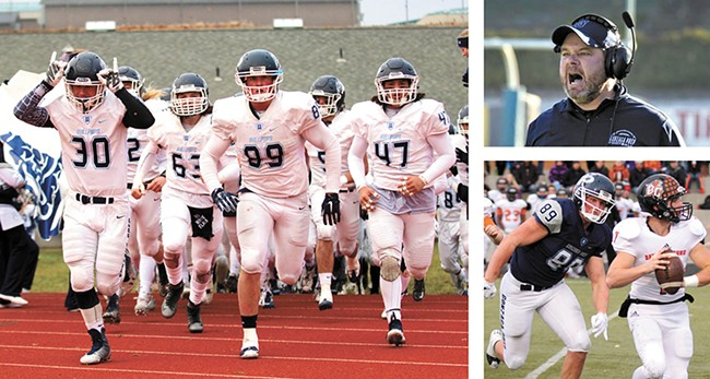 The undefeated Bullpups, left, led by Evan Weaver (No. 89) and Coach Dave McKenna (above right). - GREGG REPETTI PHOTOS