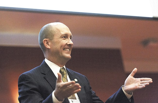 Whitworth President Beck Taylor speaking at the Young Child Expo on October 2. - YOUNG KWAK