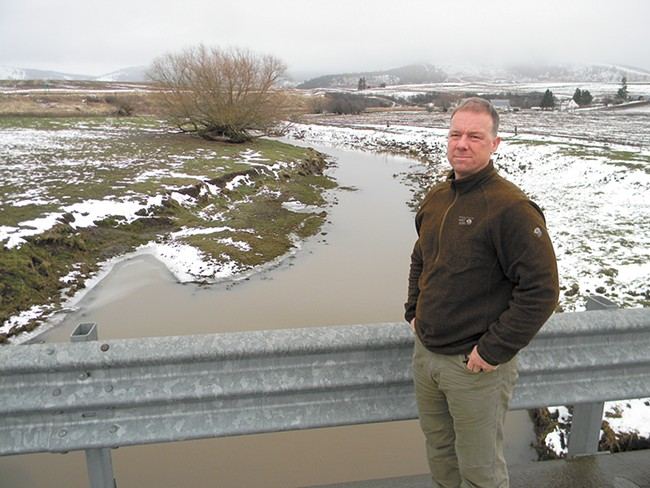 "Spokane Riverkeeper Jerry White calls Hangman Creek a ""weeping sore"" on the area's ecological system. Runoff from agriculture nearby, he says, has made it the most polluted creek in the state. - JAKE THOMAS"
