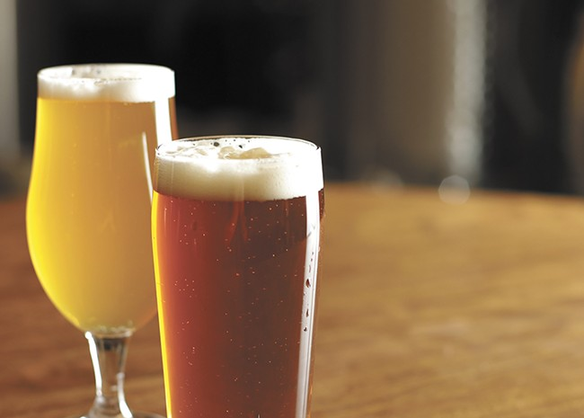 Whistle Punk's Citra IPA (left) and Mosaic Pale Ale. - YOUNG KWAK