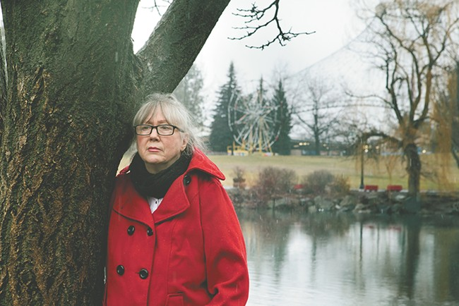 Rhoda Behrens reminisces about her son at Riverfront Park, a place he had enjoyed as a child. - KRISTEN BLACK