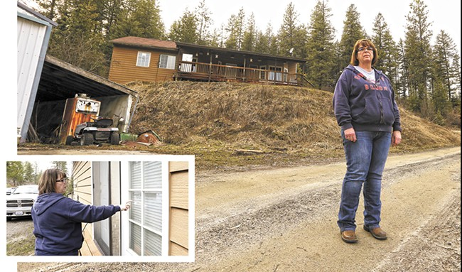 Sabrina Schoenberger shows where thieves broke into her home in 2014. - YOUNG KWAK
