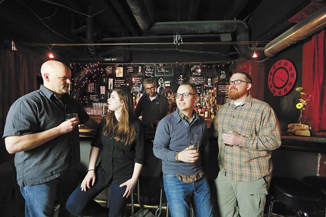 The Microbiography crew (left to right): Pat Thomas, Mara Baldwin, Bob Alexander, Mark Robbins and Tim Baughman. - YOUNG KWAK