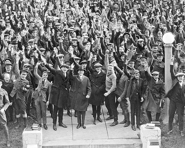 President Ernest Holland (center, in the fedora) celebrates with the Washington State College graduating class of 1922. - WSU ARCHIVE PHOTO