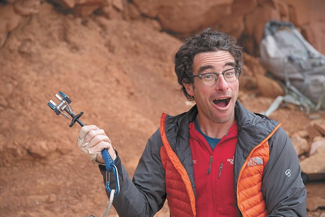 Cedar Wright gets some laughs in during his climbing adventures.