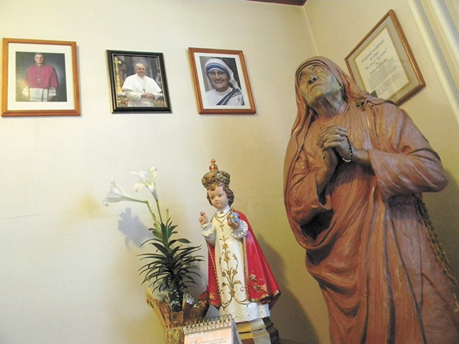 A statue of Mother Teresa is kept at Hillyard's Missionaries of Charity, a religious order she founded in 1950. - JAKE THOMAS