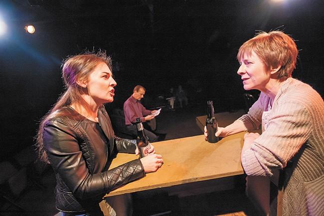 FROM LEFT: Aubrey Shimek Davis, Tom Heppler and Diana Trotter in the Civic's production of Fiction. - JEFF FERGUSON