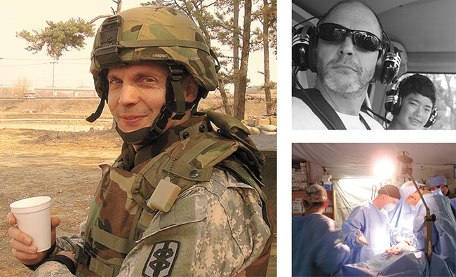 John Marshall was an officer and surgeon in the military, pictured here  in Afghanistan and Kauai, Hawaii (top right).