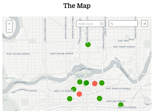 A screen grab of part of the Spokane Trans Map.