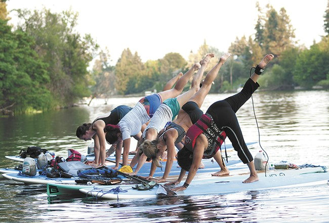 Always wanted to do yoga on a stand-up paddleboard? Try it out at Spokatopia on July 9.