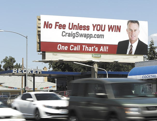 Utah-based attorney Craig Swapp as spent millions on advertising in Spokane, but it's his practice of targeting accident-injury victims that's caused controversy. - YOUNG KWAK