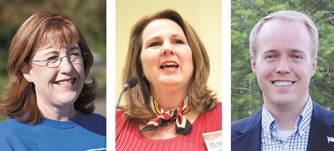 County Commissioner Nancy McLaughlin (left) is defending her seat against challengers Candace Mumm and Josh Kerns.