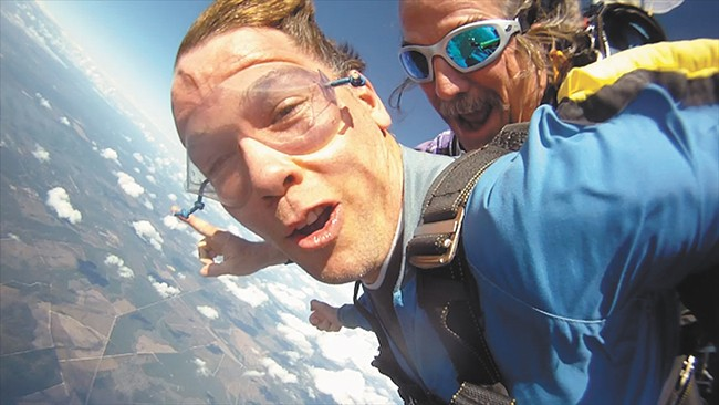 Gleason went skydiving after his ALS diagnosis.