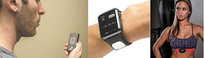 (left to right) The SpiroCall can measure lung function with a phone call; the Kardia attachment to your Apple Watch can deliver an EKG in 30 seconds; The MyZone sports bra sends a signal to smartphones allowing wearers to view their heart rate.