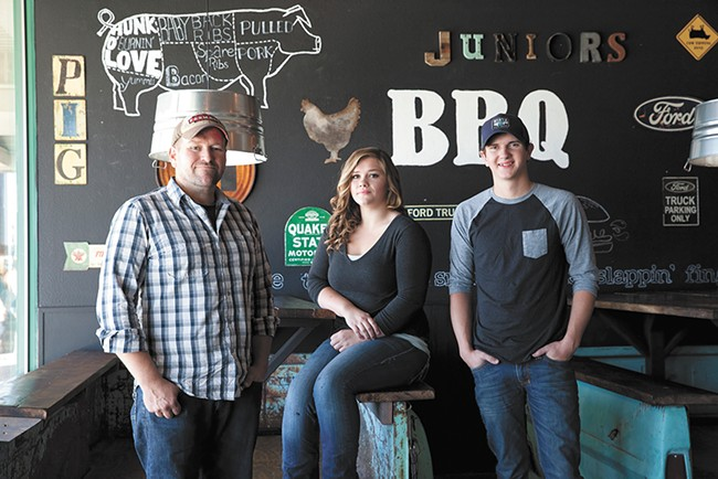 FROM LEFT: Travis, Cheyenne and Junior Potter all own and operate Coeur d'Alene-based culinary businesses, ranging from barbecue to organic sodas. - ANNIE KUSTER