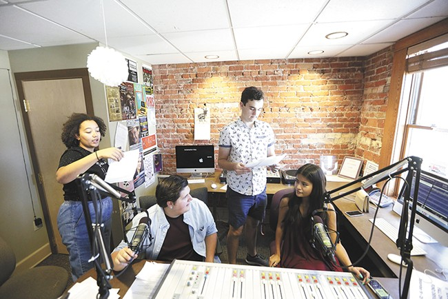 FROM LEFT: Raven Smith, Dylan Houghton, Ben Read and  Kimiko Hirota at the KYRS studios. - YOUNG KWAK