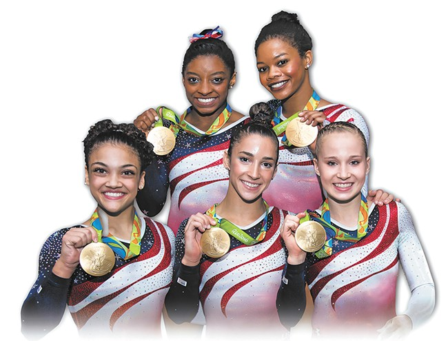 The gold medal-winning U.S. women's gymnastics team heads to Spokane next week. CLOCKWISE FROM TOP: Simone Biles, Gabby Douglas, Madison Kocian, Aly Raisman and Laurie Hernandez.