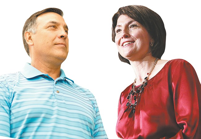 Democrat Joe Pakootas (left) is hoping that a second time will be a charm in unseating U.S. Rep. Cathy McMorris Rodgers (right).