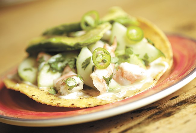 The Sinaloa Shrimp Ceviche Tostada from Zona Blanca. - YOUNG KWAK