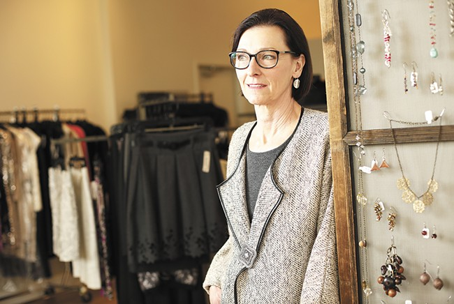 Echo Boutique Owner Suzy Gage recently moved her consignment shop to First and Madison in Spokane. - YOUNG KWAK