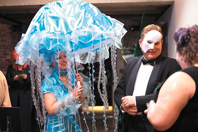 Many Spokane Arts Awards attendees, like Kitty Klitzke (left), went all out on their costumes. - HECTOR AIZON