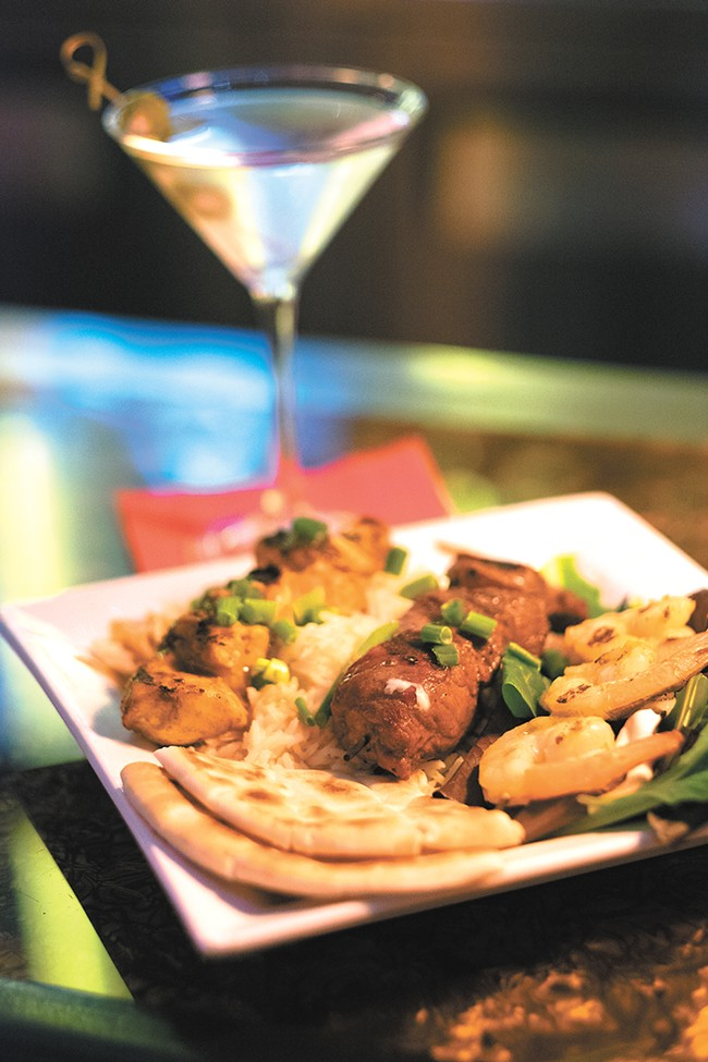 The skewer trio is just one of the new menu items at Bistango Martini Lounge. - HECTOR AIZON