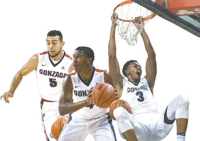 Nigel Williams-Goss (left), Jordan Mathews  (center) and Johnathan Williams are all making big waves in their first season at Gonzaga. - AUSTIN ILG PHOTOS